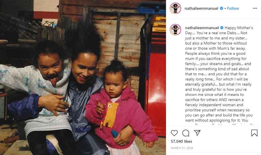 Debbie Emmanuel mother Nathalie Emmanuel